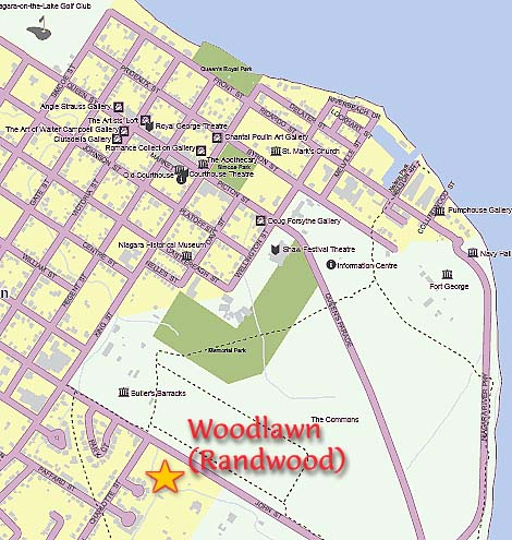 Map showing Woodlawn (Randwood) in Niagara on the Lake - history Randwood Estate