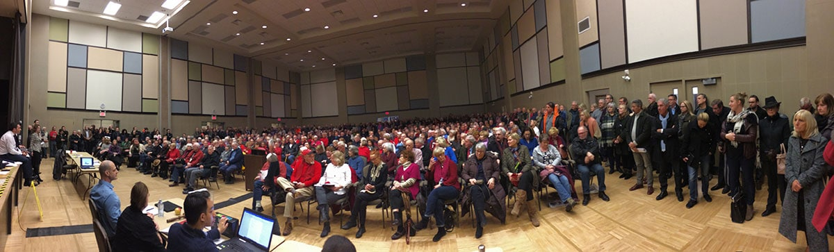 More than 600 residents packed the Jan. 25 meeting at NOTL Community Centre to hear Randwood Estate developer explain proposal.