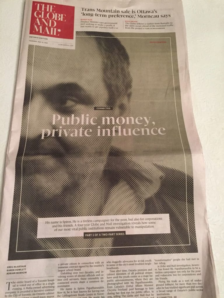 Front page of Globe & Mail May 31 2018 investigative article