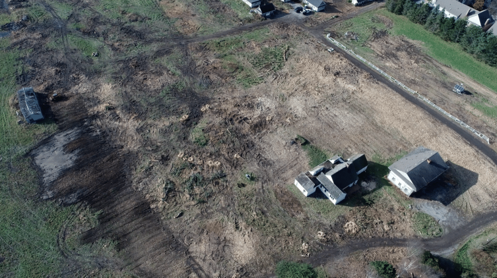 Clear cutting of Rand Estate seen in a photo taken from a drone on November 19, 2018.